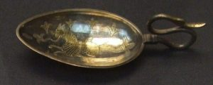 A silver-gilt spoon with a marine beast from the Hoxne Hoard. Currently in the British Museum.