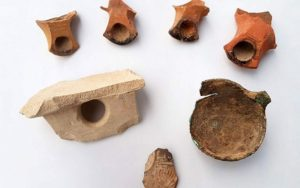 Typical Second Temple period Jewish vessels uncovered in the excavation near Tel Beer Sheva.