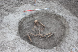 One of the ancient human skeletons found by U.K. utility company Thames Water as workers were laying out a new pipeline in Oxfordshire.