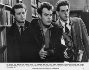 Left to right: Bill Murray, Dan Aykroyd and Harold Ramis (1944 – 2014) as paranormal investigators in Ivan Reitman's 1984 comedy 'Ghostbusters'.
