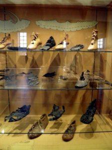 Roman footwear on display at Saalburg museum.