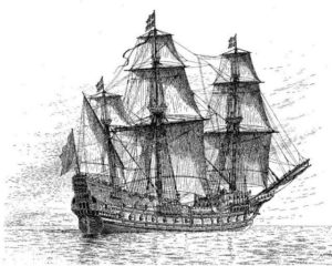 A drawing of the Swedish warship (ship of the line) Mars, also known as the Makalös (Peerless), which was constructed between 1563 and 1564.