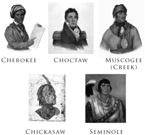 """Gallery of the Five Civilized Tribes: Sequoyah (Cherokee), Pushmataha (Choctaw), Selocta (Muscogee/Creek), a """"Characteristic Chicasaw Head"""", and Osceola (Seminole). The portraits were drawn or painted between 1775 and 1850."""