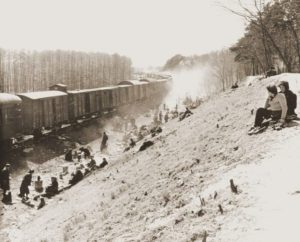 One of the trains that left Bergen-Belsen for Theresienstadt in early April, liberated by American forces