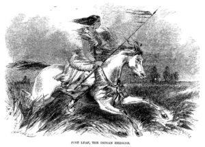 """Illustration of """"Pine Leaf"""", possibly identified with Woman Chief, from James Beckwourth's autobiography"""