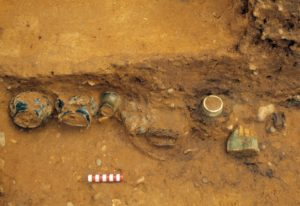 Drinking vessels in situ within the burial chamber