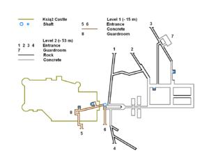 schematics of the Ksiaz castle underground