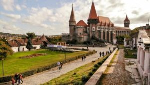 Hunedoara, Transylvania/Romania – October 02 2018: Corvin Castle or Corvinilor or Hunyad Castle in Hunedoara, town in beautiful Transylvania, Romania.