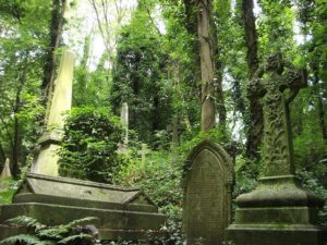 It is divided into two parts, named the East and West cemetery.