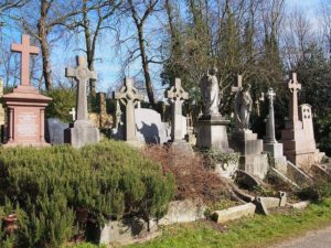The cemetery is located on both sides of Swain's Lane in Highgate, N6, next to Waterlow Park.