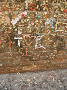 Gum wrappers and foil also decorate the walls occasionally spelling out letters and words on the wall.