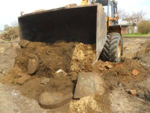 The site of the new supermarket with headstones removed via bulldozer, 2014.