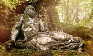The Neptune statue in Bomarzo gardens, Viterbo province in Lazio