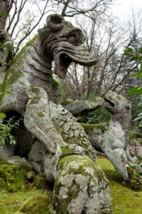 Winged dragon statue in the gardens of Bomarzo, Viterbo province, Italy.