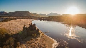 The ruins of the Kilchurn Castle as seen from above.