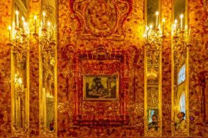 Close up of Amber room wall.