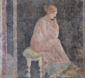Fresco of a relaxed seated woman from Stabiae, 1st century AD.