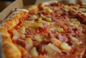 Authentic Italian, handmade ham and pineapple pizza with fresh mozzarella.