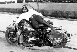 Bessie Stringfield on her infamous hog.