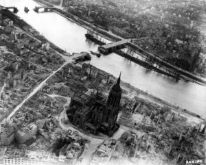 The ruins of Frankfurt after allied bombing.