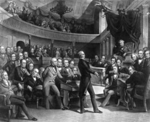 The United States Senate discussing the Compromise of 1850 in the Old Senate Chamber.