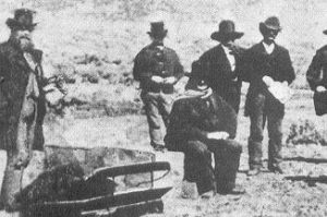 The execution of John D. Lee, as drawn by J. P. Dunn in 1886.