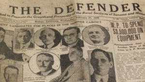 A photo of the copy of The Defender's Feruary 1929 issue.