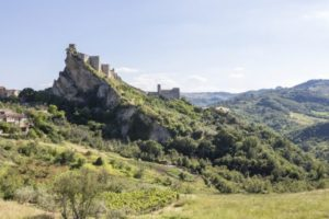 Castello di Roccascalegna is a castle from the 11th century with some additional towers and walls from the 16th century. It is located on a steep limestone cliff not far from the Adriatic Coast in the Province of Chieti.