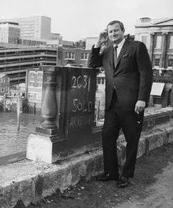 American entrepreneur Robert P McCaulloch, standing on London Bridge as it is dismantled, ready for transportation back to America, April 18th 1968.