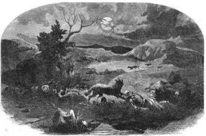 The site of the Mountain Meadows Massacre, where nothing but bones remain, as drawn for Harpers Weekly on August 13, 1859.