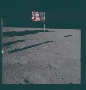 American flag on the Moon.