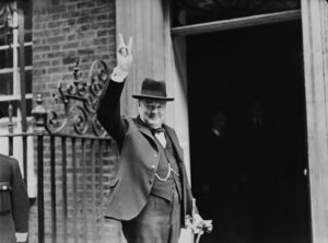 Winston Churchill outside 10 Downing Street in June 1943.