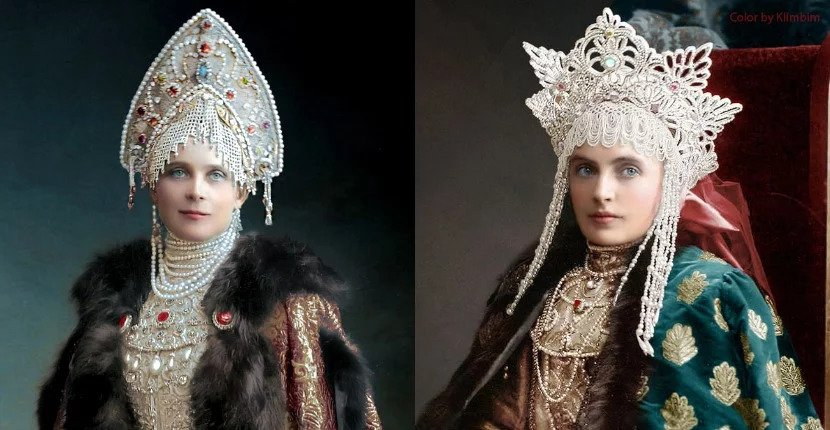 Colorized pictures from a 1903 Russian costume ball