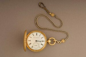 The open case, face and chain of Abraham Lincoln's pocket watch