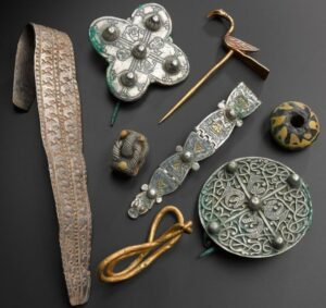 The hoard included silver bracelets and brooches, a gold ring and an enamelled Christian cross
