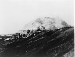 Marines landing on Iwo Jima.