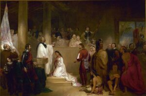 The Baptism of Pocahontas by John Gadsby Chapman ( Wikimedia). Chapman depicts Pocahontas wearing white, being baptized Rebecca by Anglican minister Alexander Whiteaker in Jamestown, Virginia. She kneels, surrounded by family members and colonists. Her brother Nantequaus turns away from the ceremony.  The scene symbolizes the belief at the time that Native Americans should accept Christianity and other European ways.
