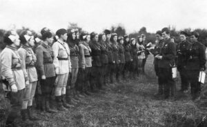 The Night Witches lined up at an airfield in 1942.