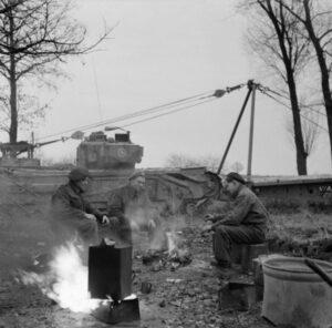 Churchill AVRE crew, brewing up near Venlo, Nov. 30, 1944