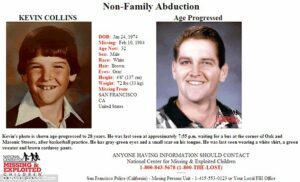 Mystery: A missing person's poster shows Kevin Collins alongside an age progression photo of what the 10-year-old may look like today