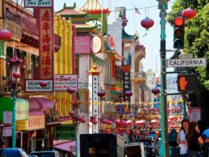 San Francisco's modern-day Chinatown. Old Chinatown was almost completely destroyed during the earthquake of 1906 and the fires that ensued.