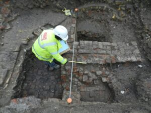 The archaeological dig on the site of the Boar's Head Playhouse in Whitechapel