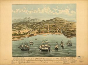 A charming birds-eye view map of San Francisco printed and distributed in 1884 depicts the area as it appeared before the discovery of gold. The only streets marked on the map are Montgomery — which runs along the waterfront — Clay, Kearney and Washington. The small collection of buildings includes a school house, a hotel and several captains' residences.