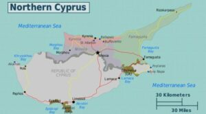 Map of Cyprus. The Northern Turkish area and Southern Greek area