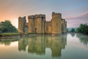 Bodiam Castle in East Sussex, England, was built in 1385. Notice the water-filled moat as one of its defense features.