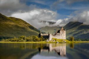 Reflection of Kilchurn Castle in Loch Awe, Scotland. Perhaps the lake sometimes served as an escape route.