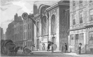 Church of St Swithin, London Stone, in Cannon Street, London; engraving after Thomas H. Shepherd, 1831. The church is by Christopher Wren, 1678. A prominent stone casing in the middle of the church's south wall housed the London Stone.