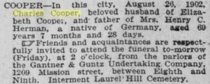 The 1902 obituary of Charles Cooper in the San Francisco Call newspaper.