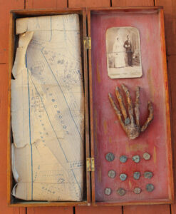 Box allegedly containing Gaspar's hand and related items