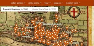 A screenshot of the 'murder map', revealing the meanest streets in Medieval London.